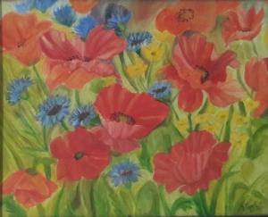 Poppy flowers oil painting