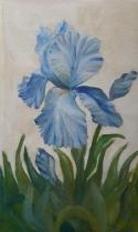 blue iris oil painting