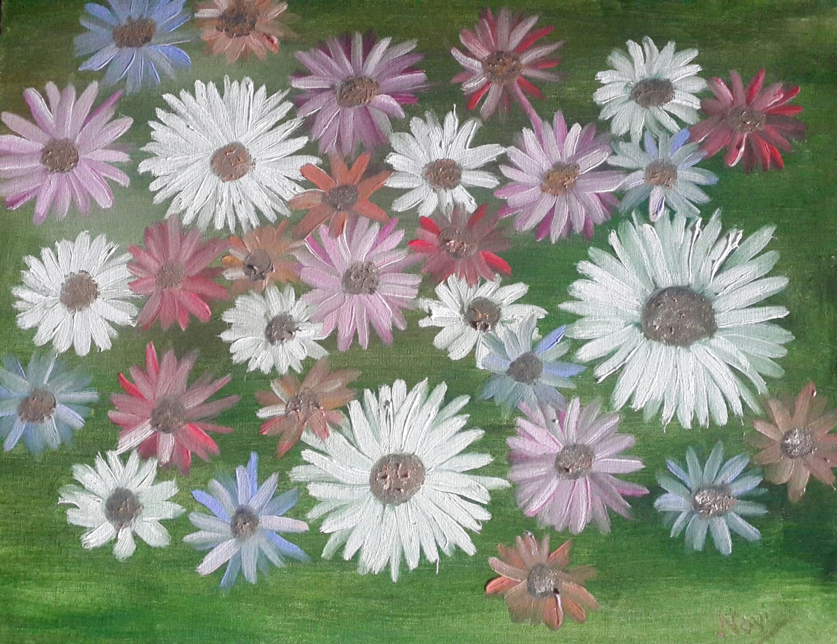 daisies oil painting