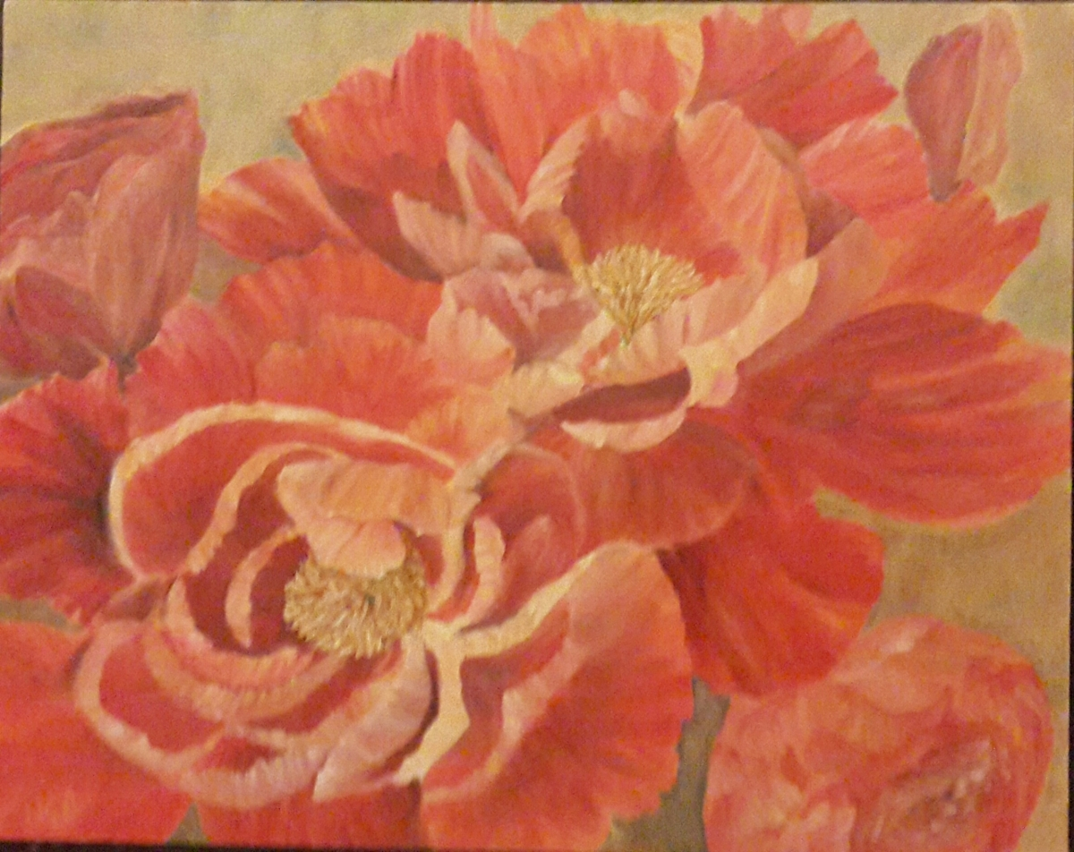 red peonies oil painting