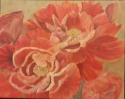 red peonies oil painting