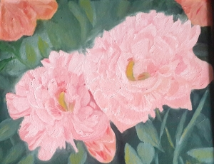 Peonies oil painting by Navdeep Kular