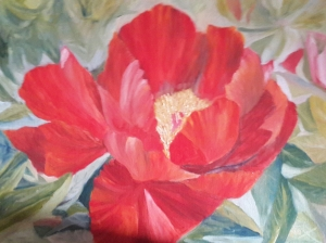 Passionate Peony single red peony oil painting by Navdeep Kular