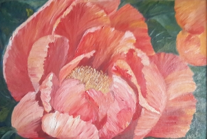 Mystique single peony oil painting by Navdeep Kular