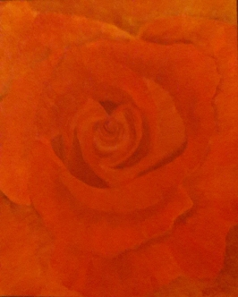 Love is in the air red rose oil painting by Navdeep Kular