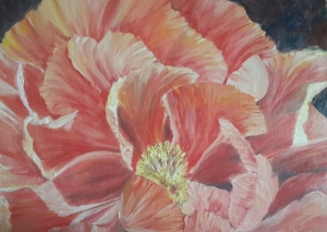 Gaiety single peony oil painting by Navdeep Kular