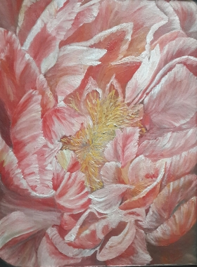 Celebration single peony oil painting by Navdeep Kular