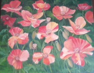 Sunlit Poppies red poppies oil painting by Navdeep Kular