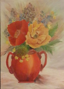 Oil painting of Red and Yellow Poppies in a Vase