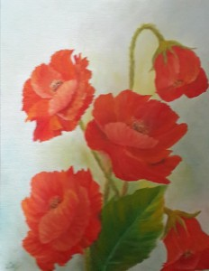 Oil painting Poppies by Navdeep Kular