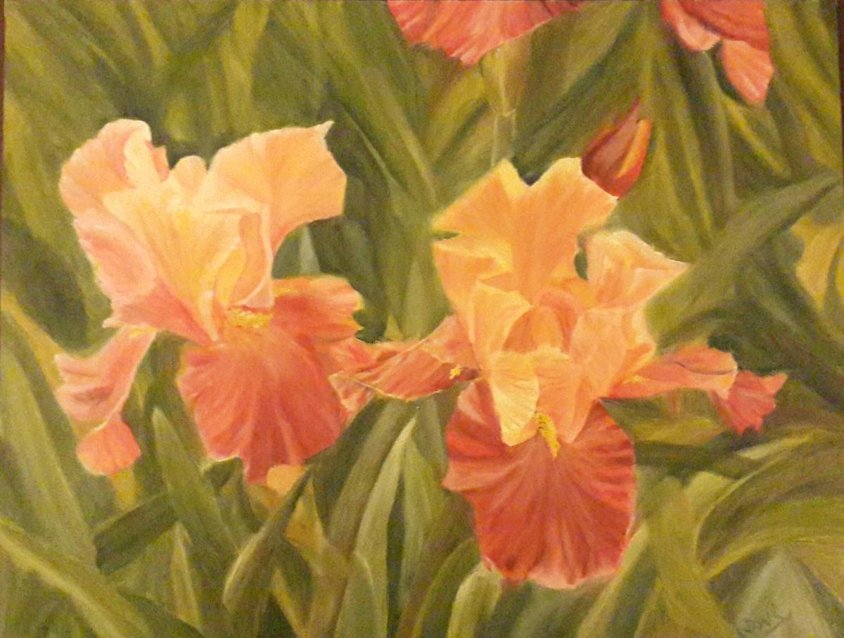floral painting Iris Garden 1 irises oil painting by Navdeep Kular