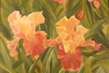 floral painting Iris Garden 1 irises oil painting by Navdeep Kular
