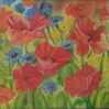 floral painting red poppies oil painting by Navdeep Kular