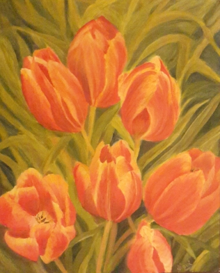 Tulip Garden1 red tulips original oil painting by Navdeep Kular