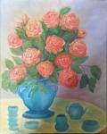 Roses in a Blue Vase roses oil painting by Navdeep Kular