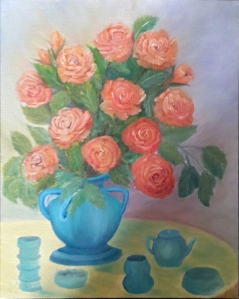 Roses in a Blue Vase roses oil painting by Navdeep Kular
