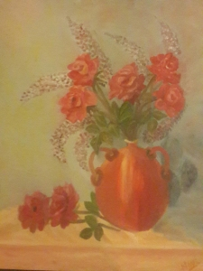 Red roses in a green vase oil painting by Navdeep Kular