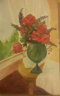 Roses in a vase 2 red roses in a green vase oil painting by Navdeep Kular