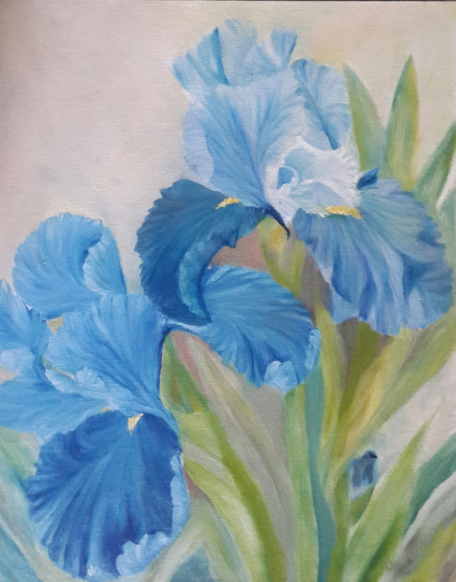floral painting Blue Irises by Navdeep Kular