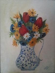 Tulips in a Ceramic Vase oi painting by Navdeep Kular