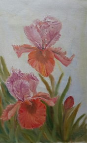 Iris Garden 3 pair of irises iris oil painting by Navdeep Kular