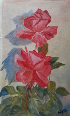 Roses Study red roses pair of rose oil painting by Navdeep Kular