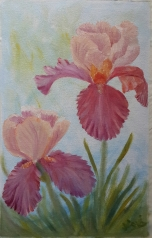 Iris Garden 2 pair og irises oil painting by Navdeep Kular
