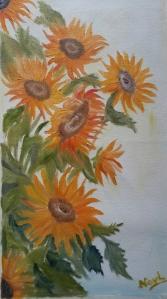 Sunflowers 1 Yellow flowers oilpainting by Navdeep Kular