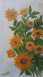 Sunflowers 2 Yellow flowers oil painting by Navdeep Kular