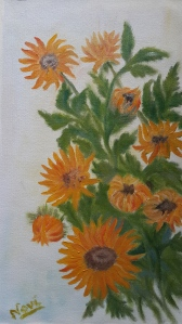 Sunflowers 2 Yellow flowers oil painting by Navdeep Kular