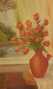 Tulips in a vase red tulips oil painting by Navdeep Kular