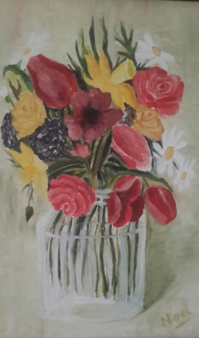 Flowers in a Glass Vase oi painting by Navdeep Kular