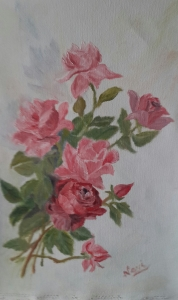 Red and pink roses in Roses with love oil painting by Navdeep Kular(17H X11.25W X 0in)