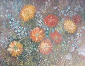Daisies Study oil painting by Navdeep Kular