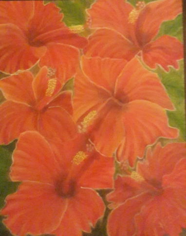 floral painting Hibiscus Garden original oil painting by Navdeep Kular
