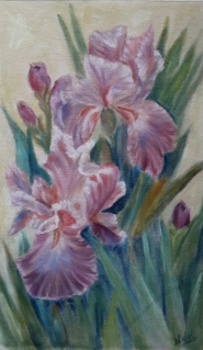Mauve Irises oil painting by Navdeep Kular