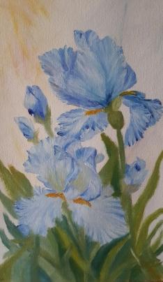 Blue Irises oil painting by Navdeep Kular