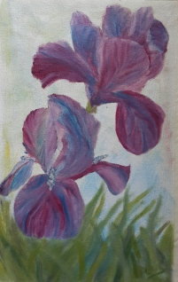 Purple irises oil painting by Navdeep Kular
