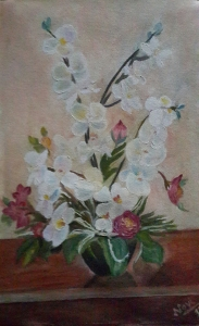 White orchids in a vase oil painting by Navdeep Kular