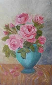 floral painting Pink Roses and Rose buds in a Turquoise Vase original oil painting by Navdeep Kular