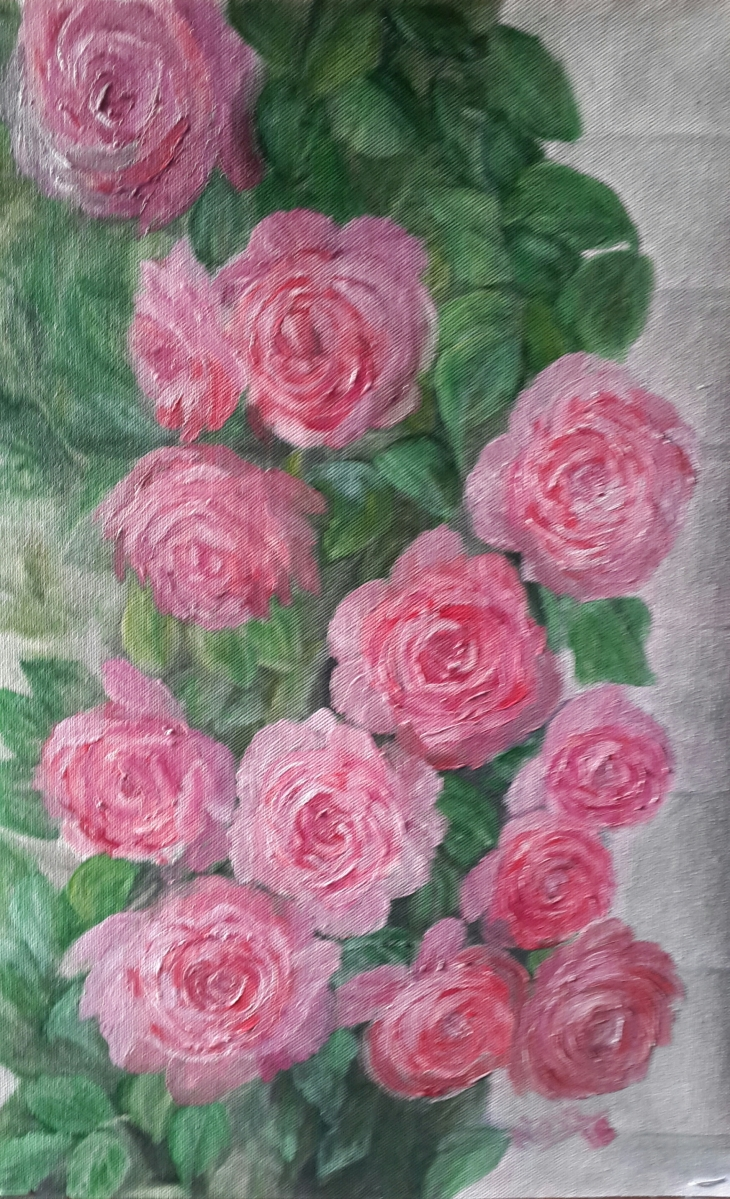 floral painting Pink Roses in a Rose Bush original oil painting by Navdeep Kular