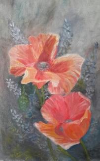 floral painting original oil painting of A Pair of Poppies by Navdeep Kular