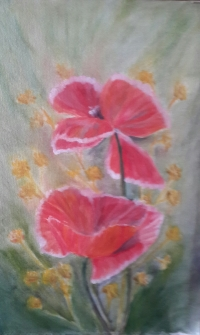 original oil painting A Pair of Poppies 2 by Navdeep Kular