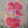 floral painting original oil painting A Pair of Poppies 2 by Navdeep Kular