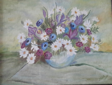 Oil painting of Daisies in a Vase by Navdeep Kular
