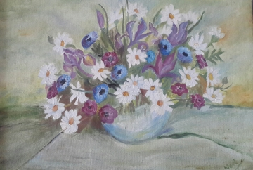 floral painting Oil painting of Daisies in a Vase by Navdeep Kular