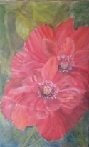 floral painting A Pair of Poppies 3 original oil painting by Navdeep Kular