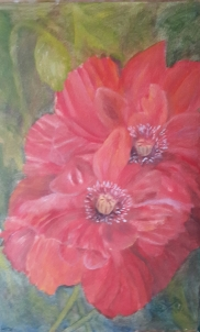 A Pair of Poppies 3 original oil painting by Navdeep Kular