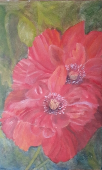 floral painting A Pair of Poppies 3 original oil painting by Navdeep Kular