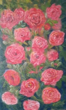floral painting Rose Vine 2 roses original oil painting by Navdeep Kular